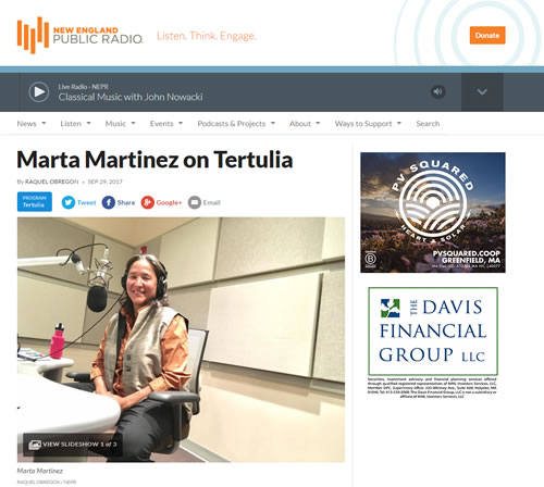 New England Public Radio – Tertulia with Raquel Obregon
